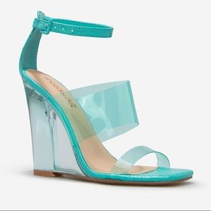 Teal Clear Strappy Wedge